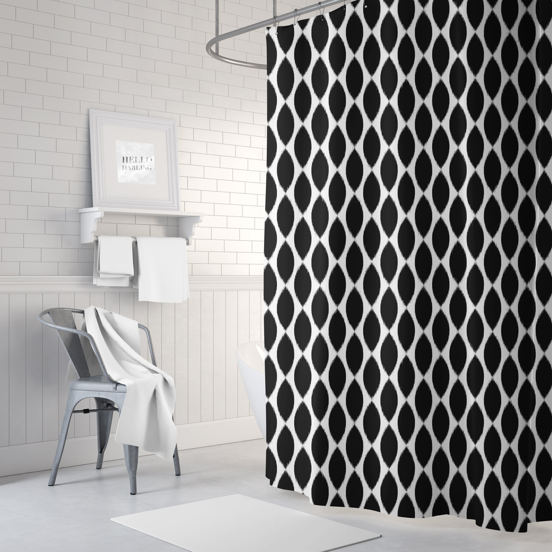 Black And White Ikat Shower Curtain Girls Bathroom Decor