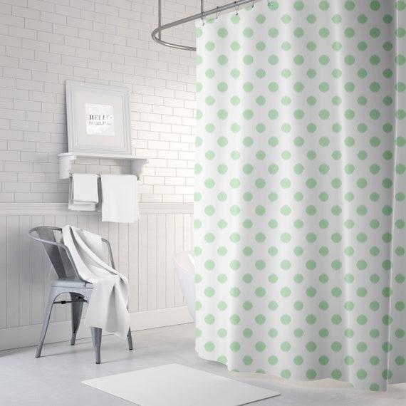 Mint Shower Curtain Ikat Polka Dot Bath Girls