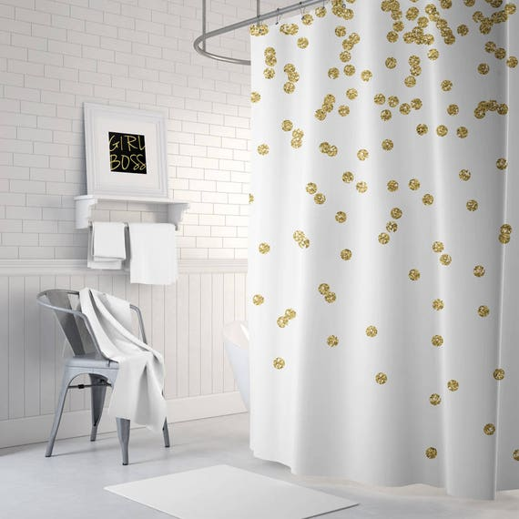 Gold Shower Curtain Girls Bathroom Decor Gold Confetti