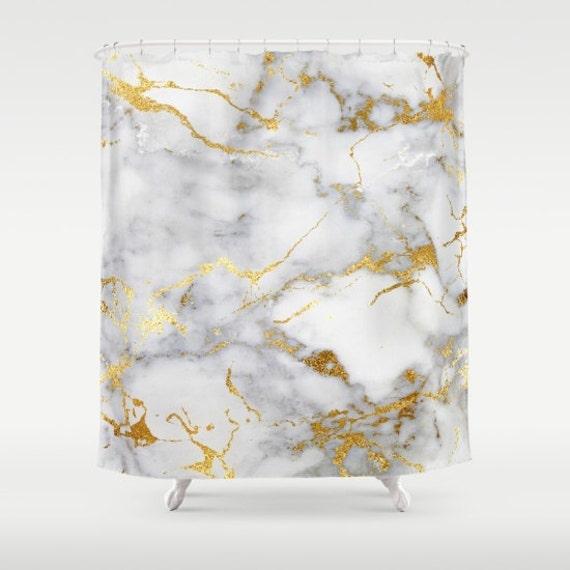 Marble Shower Curtain Gold Girls Bathroom