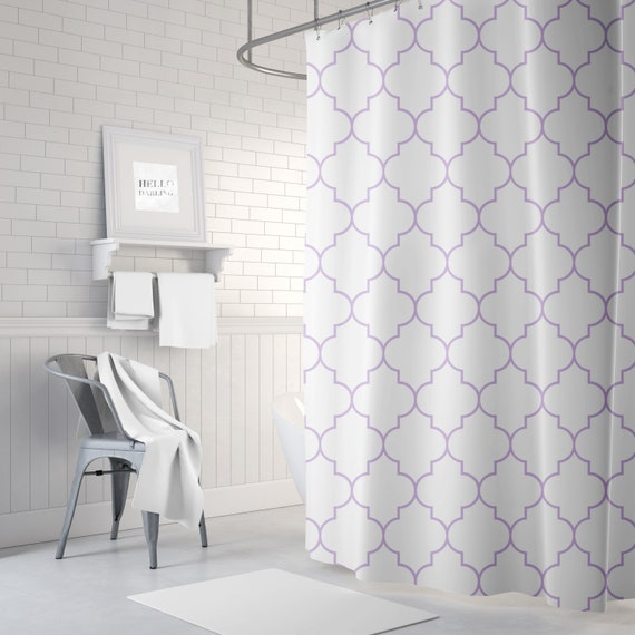 Lavender Shower Curtain Quatrefoil Bath Curtain Girls Etsy