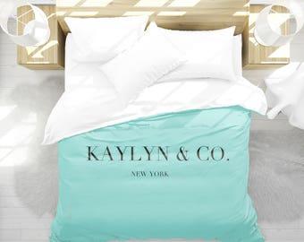 Personalized Duvet Cover Breakfast at Tiffanys, Girls Bedroom Decor, Breakfast at Tiffanys Decor, Dorm Bedding, Teen Girl Room Decor, Aqua