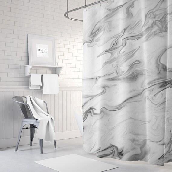 Marmor grau Duschvorhang Badezimmer Dekor Stoff | Etsy