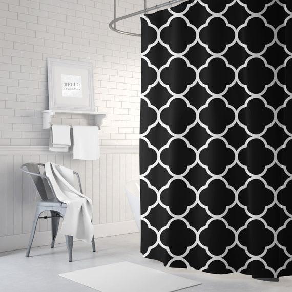 Black And White Quatrefoil Shower Curtain Girls Bathroom