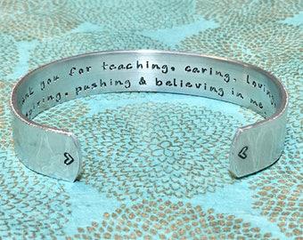 sponsor gift teacher gift godmother gift thank you for teaching caring loving inspiring pushing believing in mestamped bracelet