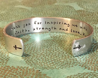 sponsor gift teacher gift godmother gift thank you for inspiring me with your faith strength and love stamped bracelet