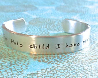 Baptism gift | Godchild Gift | First Communion Gift | For this child I have prayed | Customized Hand Stamped Bracelet Made by mishka