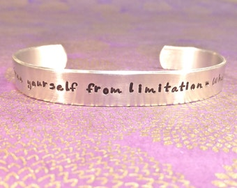 Friend | Sister Gift | Daughter Gift | Son Gift- Free yourself from limitation - What if? - Custom Hand Stamped Bracelet by MadeByMishka.com