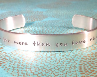 Fiance Gift | Gift for her | Wife gift | I love you more than you love chocolate. - Custom Hand Stamped Bracelet by MadeByMishka.com