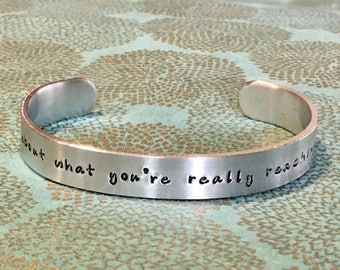 Motivational Gift | Intention bracelet | Think about what you're really reaching for. -  Custom Hand Stamped Bracelet by MadeByMishka.com