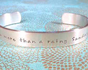 Fiance Gift | Gift for her | Wife gift | I love you more than a rainy Sunday afternoon | Custom Hand Stamped Bracelet by MadeByMishka.com