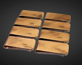 Custom Personalized Copper Money Clip | Anniversary Gift for Him | Wedding Gift | Gift for Groom | Groomsmen Gifts | Set of 8