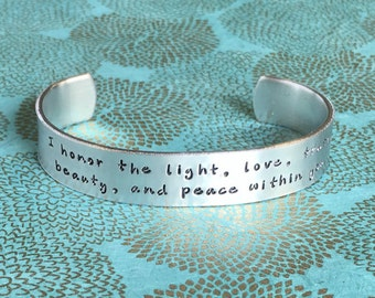 Yoga bracelet | Namaste Gift | I honor the light, love, truth, beauty, and peace within you.| Custom Hand Stamped Bracelet