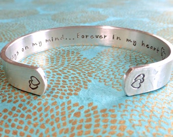 Loved one Bracelet | Always on my mind... Forever in my heart <33 (Name) | Custom Hand Stamped Bracelet by MadeByMishka.com
