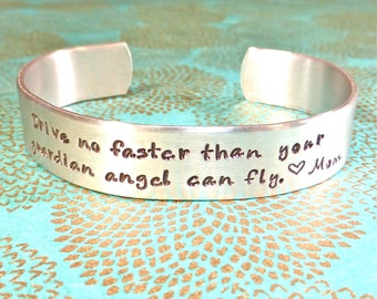 New Driver Gift | Daughter Gift | Son Gift  Drive no faster than your guardian angel can fly <3 Mom | Stamped Bracelet by MadeByMishka.com