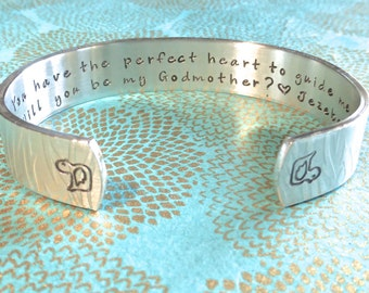 Baptism|Godmother Gift - You have the perfect heart to guide me. Will you be my Godmother? <3 (child name) Hand Stamped Bracelet