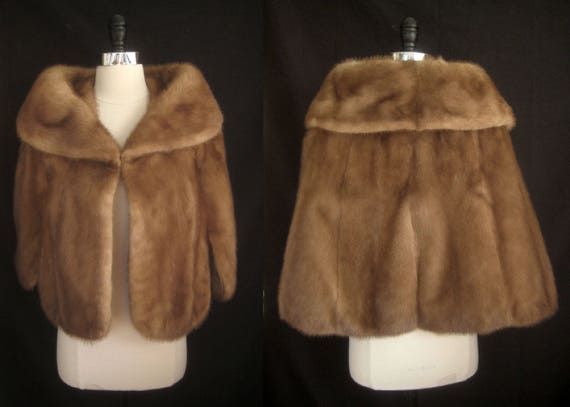 Gift Jacket MINK Shawl Winter Brown 2 Oleg Stole ~ Pastel Cassini Haze Wrap Bridal Capelet Wedding Autumn Two Bridesmaid ~ CAPE ~ Coat Fur 0q0Zwgf
