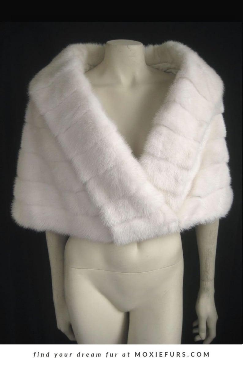 White Fur Stole >> Exquisite White Mink Fur Stole Real Fur Wrap Shawl Ivory Cream Winter Wedding Cape Vintage Fur Coat Jacket Bolero Luxury Bridal Gift