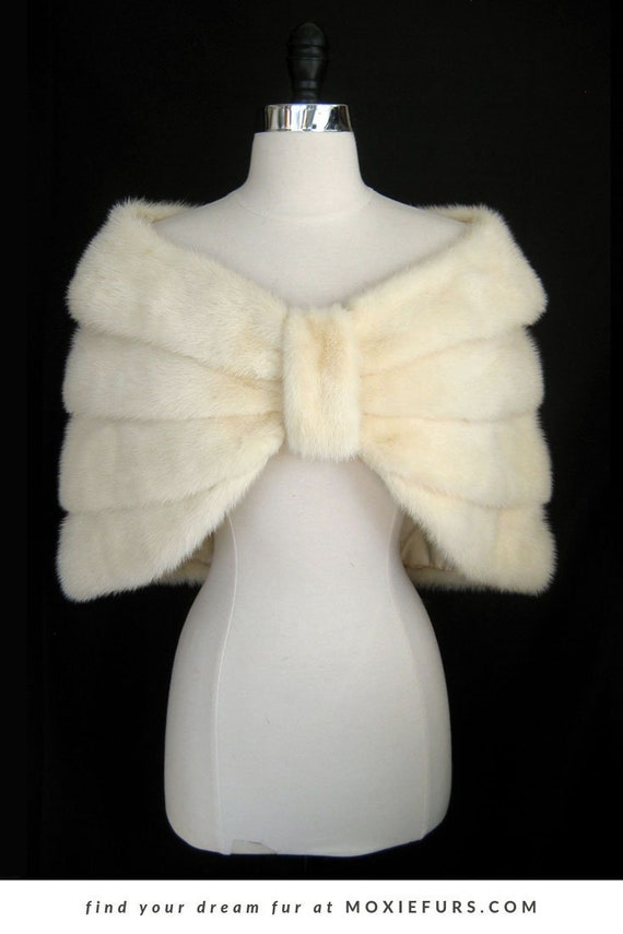 Raccogliere bel design raccolto White MINK Fur Stole Capelet , Luxury Bridal Cape Shawl , Real Fur Wrap  Coat Jacket , Winter Bride Wedding Gift , Cream Ivory Blonde Vanilla