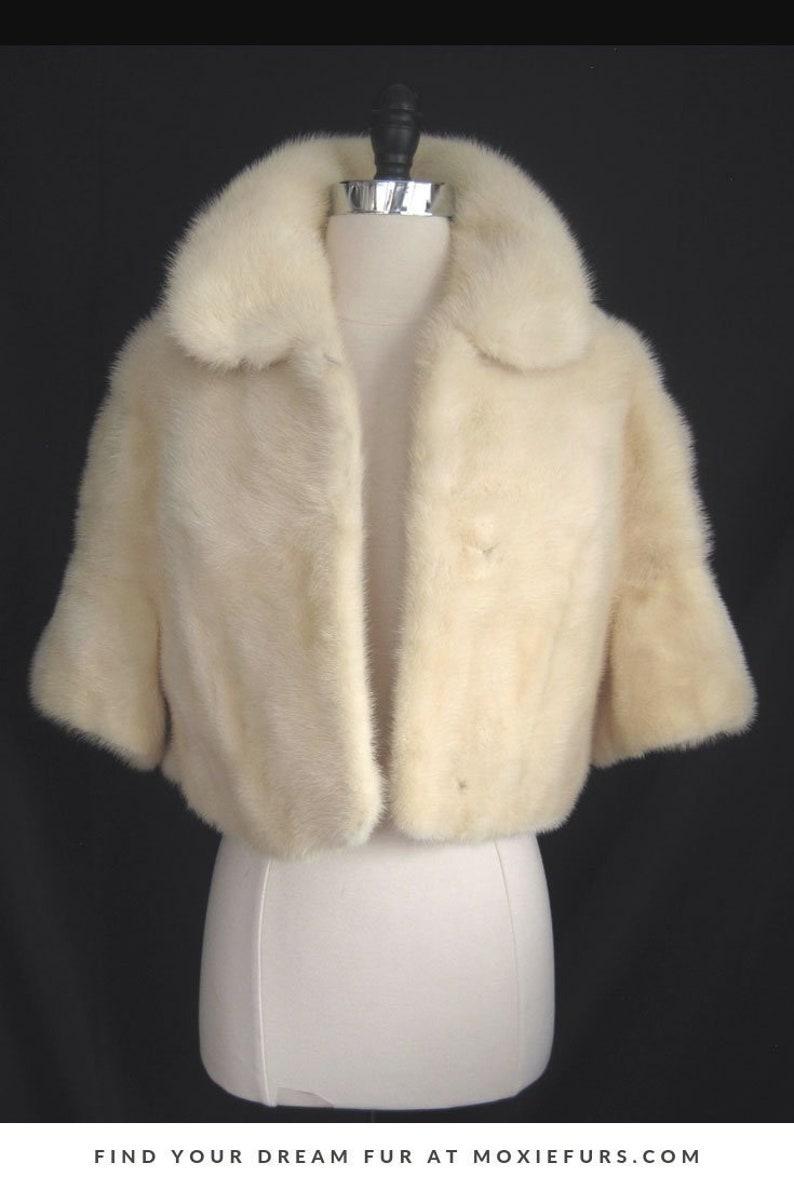 65c26451 White MINK Fur Coat Bridal Bolero Jacket Ivory Blonde Cape | Etsy