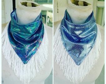 Bandana Reversible Mermaid Lavender Fringed bandana scarf rave burningman festival fashion bandana