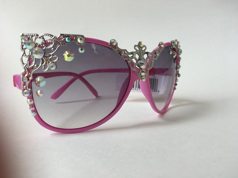 b573a6ec055d8 Pink sunglasses oversized royal kitty sunnies ab rhinestone
