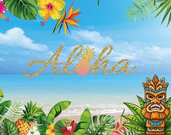 Hawaiian Aloha Baby Girl Cursive Banner Decorations Decor Shiny Banner Tropical Meet The Baby Decors Green Glitter Baby Shower Sign