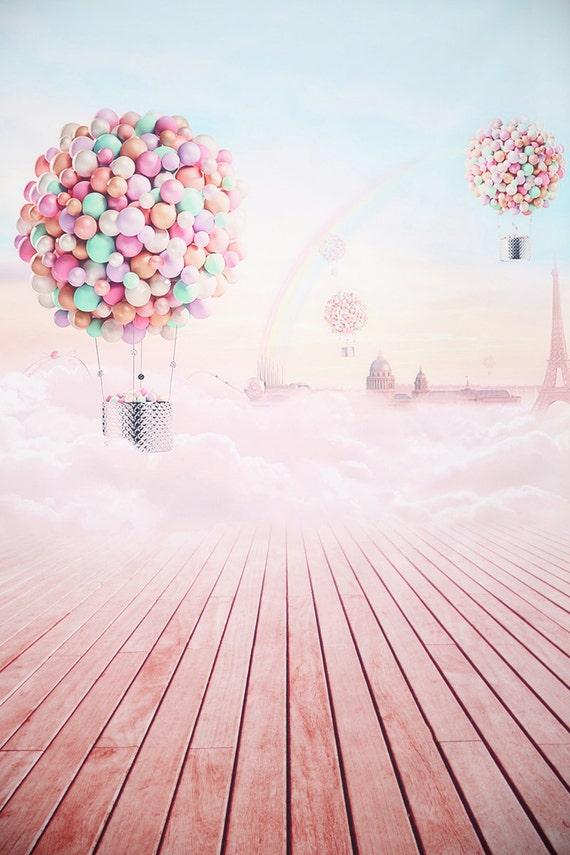 Pink Lovely Air Balloon Photography Vinyl Backdrop Clouds Sky Photo Painted Background Newborn Children Portraits Photoshoot Drops S 959