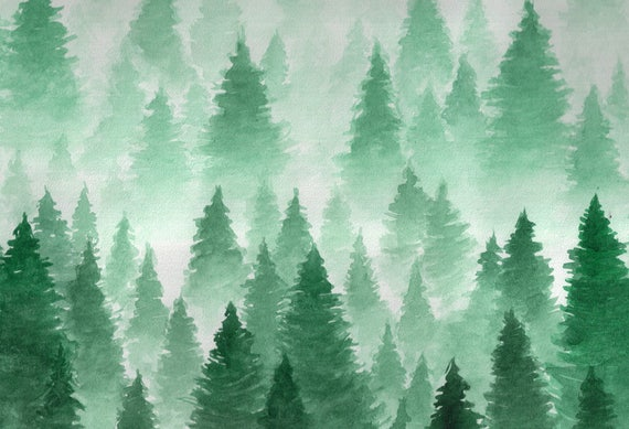 Winter Watercolor Forest Photography Backdrop Christmas