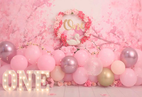 Newborn Photography Backdrop White 7x5 Pink Strawberry Backdrop First Birthday for Baby Girl and Boy Vinyl Cake Smash Infant Studio Background Photoshoot