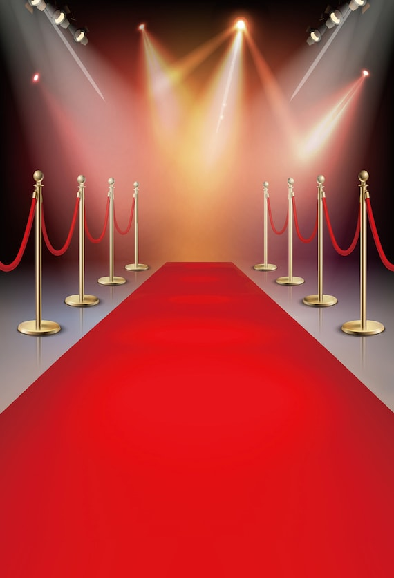 Stage Event With Sparkling Lights Photo Background Red
