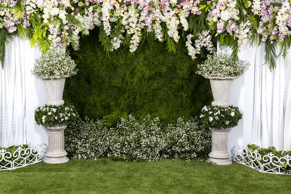 wedding backdrops wedding floral with green grass wall photo etsy