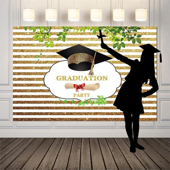 Graduation Party Celebration Decor Photography Backdrop Graduate University College Ceremony Photoshoot Background Photo Backdrops Gy 1054