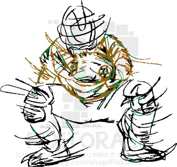 Baseball Softball Clip Art Of The Catcher Png Transparent Etsy
