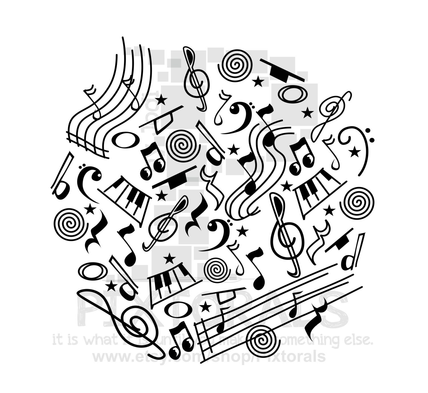 Music Doodle Png Transparent Background Eps File And Etsy