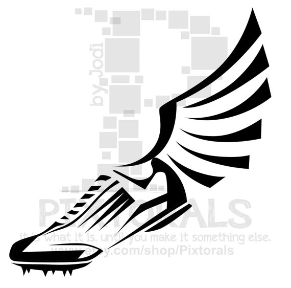 track winged shoe clipart eps file vector and jpeg png etsy rh etsy com Boat Vector Vector Heels