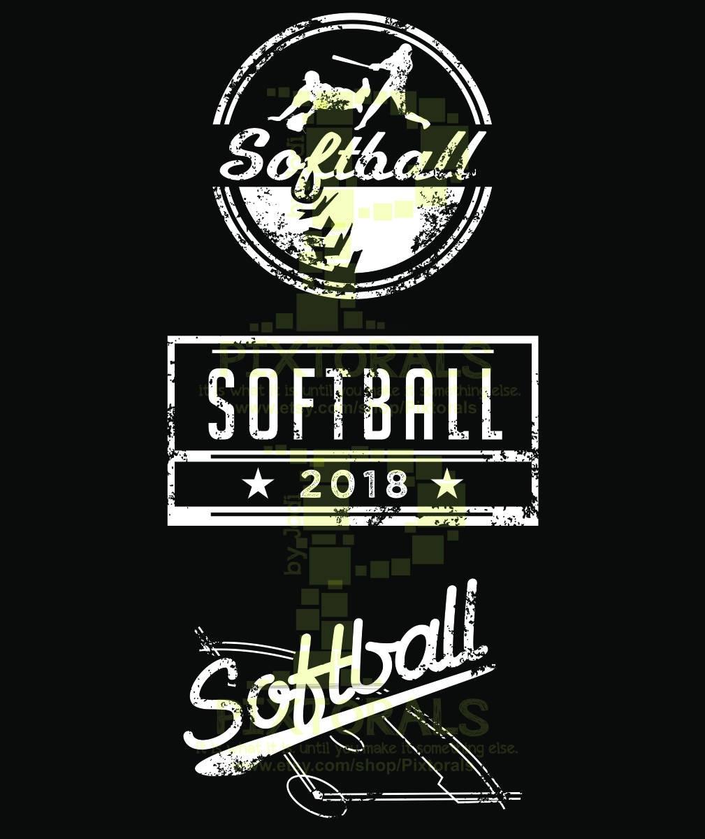 Softball Shirt Design | 3 Vintage Softball Designs Eps Jpeg Png And Pdf New Etsy