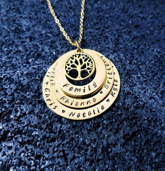 Personalised Hand stamped name pendant tree of life 2 tiered necklace fast post