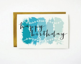 Printable HAPPY BIRTHDAY Card - Instant Download - Blue - Ombre - 4x6 - 5x7 - DIY  - Stationary