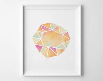 GEOMETRIC GEM - Instant Download - Watercolor - 8x10 - 11x14 -  Printable Art - Crystal - Geometric - Minimalist-  Wall Art - Home Decor