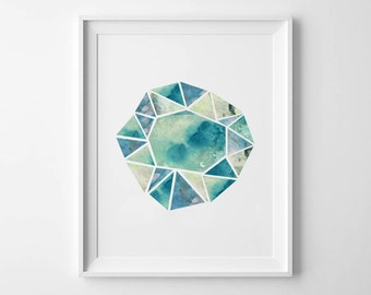 GEOMETRIC GEM - Instant Download - Watercolor - 8x10 - 11x14 -  Printable Art - Crystals - Geometric - Minimalist-  Wall Art - Home Decor