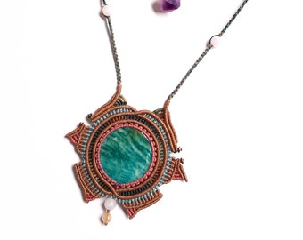 gift idea for truth self-love and trust communication Blue Lagoon Amazonite gemstone macrame necklace