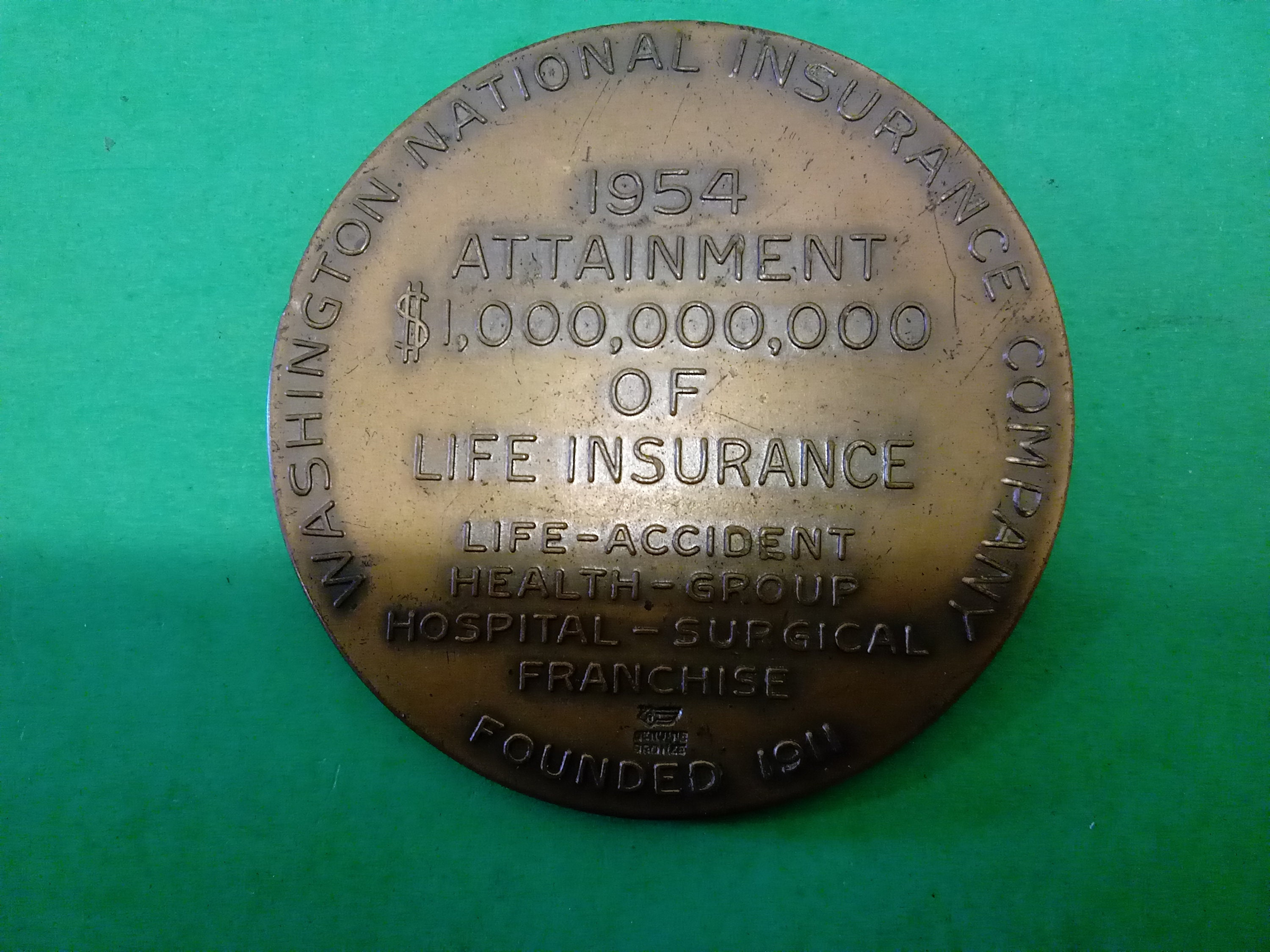 Bronze Washington National Insurance Company Medal, 1954 #B