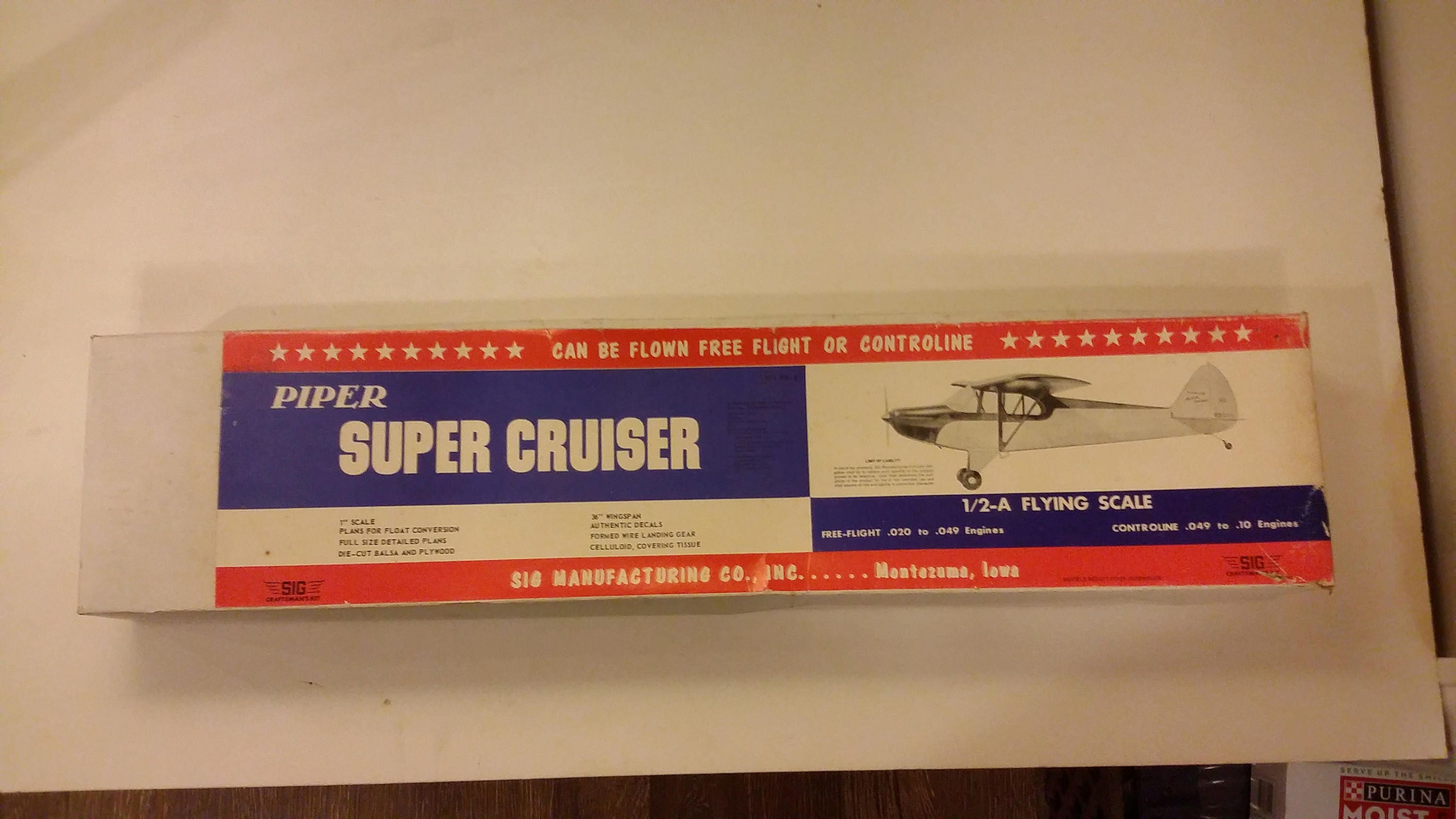 Vintage Wooden RC Airplane, SIG Manufacturing Co  Piper Super Cruiser,  1950's