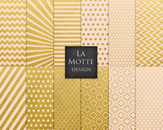 Gold Rosa Muster Papier digital Goldfolie Rosa Papier Muster | Etsy