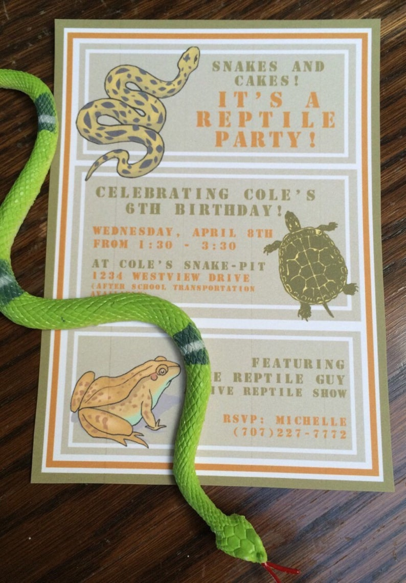 Reptile Birthday Invitations Printable