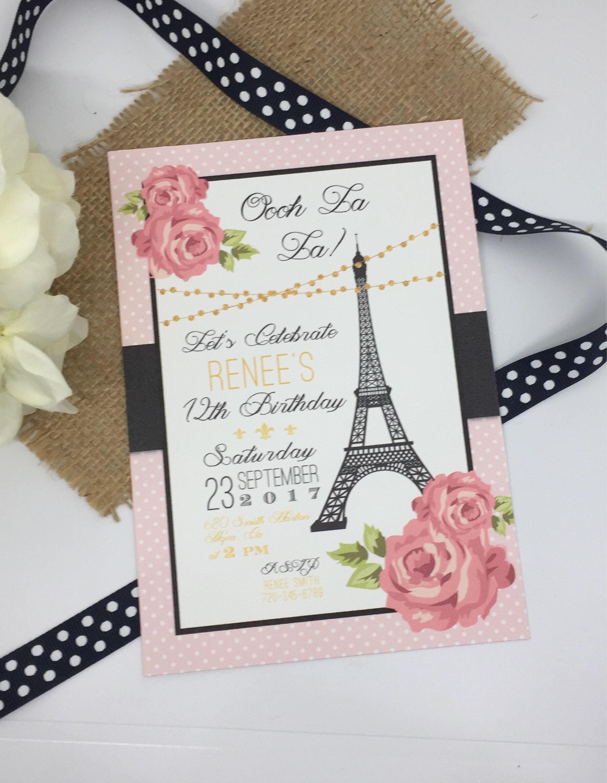 Paris Birthday Invitations Pink Paris Party Printable | Etsy