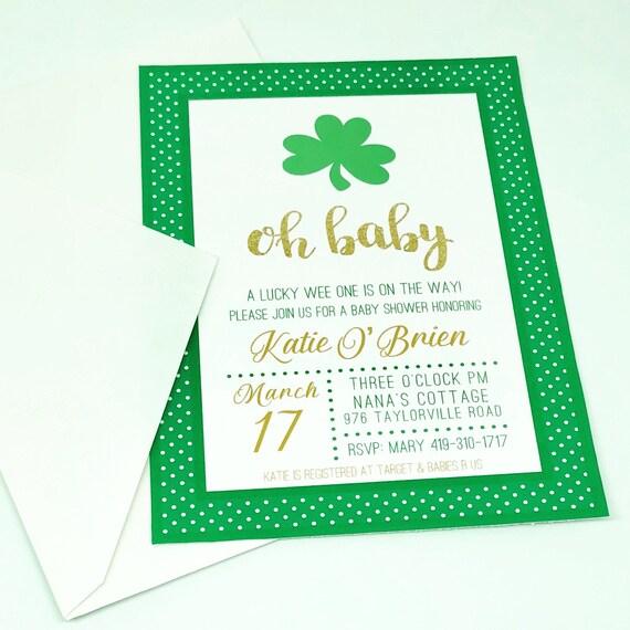 Shamrock Baby Shower Invitations St Patricks Day Shower Etsy