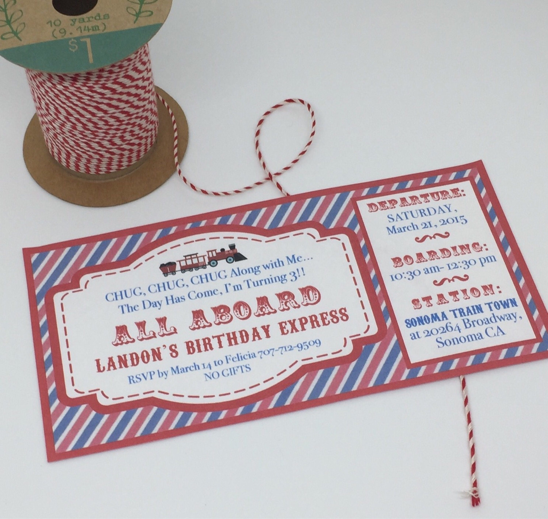 Vintage Train Birthday Party Invitations Ticket