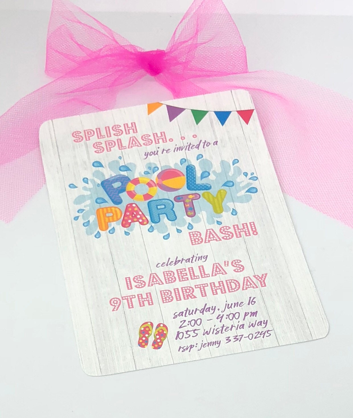 Pool Party Invitions Pool Party Birthday Invite Girls Pool | Etsy